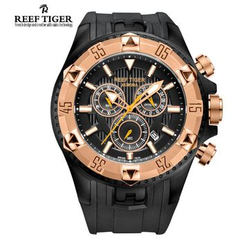 Reef Tiger brand Men's Luxury Swiss Sport Watches silicone Quartz Super Grand Chronograph Super Bright Watch relogio masculino