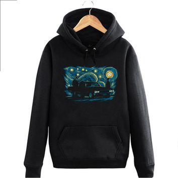 Supernatural SPN The Starry Night De sterrennacht Vincent Willem van Gogh man cotton fleece pullover hoodies