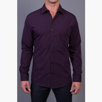 {Business Class} Striped Dress Shirt in Official Eggplant