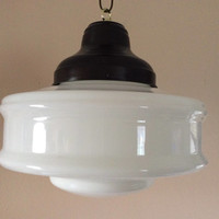 Antique Church Industrial School House Pendant Light Fixture 1930s Milk Glass Art Deco