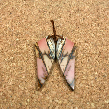 Red Creek Jasper Earring Pair - Pink White and Brown Smooth Butterfly Shaped Matched Pair