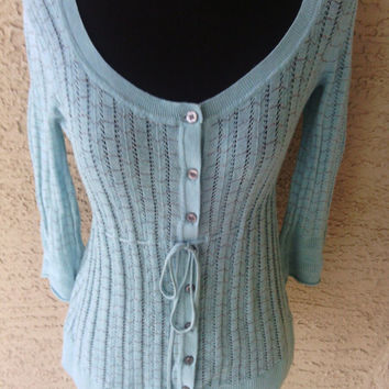 DKNY sweater top cardigan shirt  turqouise blue button front tie waist small cotton nylon blend petite small sexy