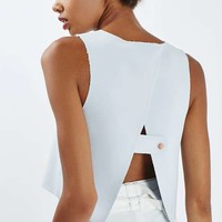 Button Back Crop Top - Tops - Clothing