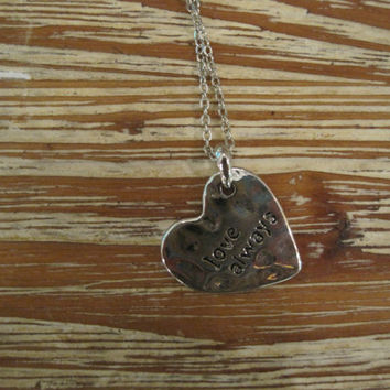 "Silver ""Love Always"" Necklace - Heart Shaped Silver ""Love Always"" Necklace - Medallion Necklace - Happy Jewelry - Sentiment Jewelry"