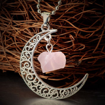 Vintage Moon Necklace ~Irregular Natural Stone Pendant ~Amethyst Rose Quartz Crystals Antique Bronze Chains  9