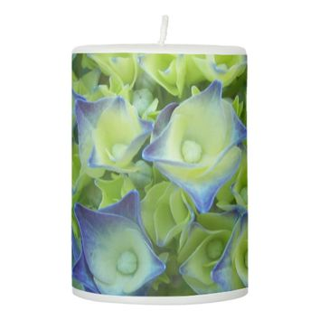 Hydrangea Buds Floral Pillar Candle