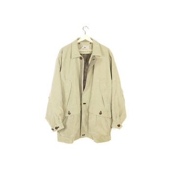 down insulated barn coat - rainforest jacket - tan + leather collar - workwear - parka - mens