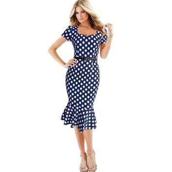 Oxiuly Women Fashion Vintage Trumpet Polka Dot Print Houndstooth Slim Wear to Work Business Sheath Black Blue Red Mermaid Dress