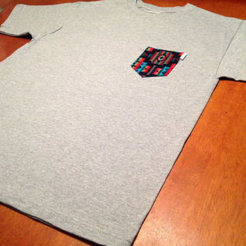 Neon Aztec Regular Crewneck Pocket Tee, Size: Unisex Adult Small, Medium, Large, Extra Large