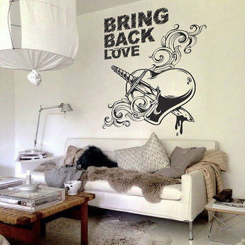 I192 Wall Decal Vinyl Sticker Art Decor Design black love heart blood knife wound rock graffiti sword Living Room Bedroom