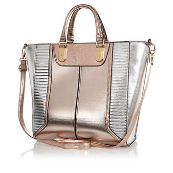 Rose gold metallic color block tote bag - shopper / tote bags - bags / purses - women
