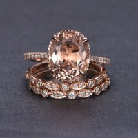 Oval Morganite Engagement Ring Sets Pave Diamond Wedding 14K Rose Gold 10x12mm