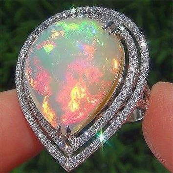 Large 925 Solid Sterling Silver Nature Gemstone Ring Fire Opal Diamond Rings Bride Wedding Fine Jewelry Size 5 6 7 8 9 10