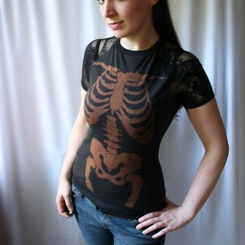 handmade bleach skeleton lace tee LA CATRINA by smarmyclothes