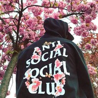 ANTI SOCIAL SOCIAL CLU Tide brand back cherry blossom letter print men and women hoodie