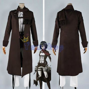 Cool Attack on Titan : The Wings of Counter Mikasa Ackerman Full Set Cospaly Costume Long Brown Trench Coat Jacket AT_90_11
