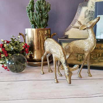 Christmas Decor/ Reindeer Figurines/ Brass Deer/ Brass Deer Figurine/ Brass Decor/ Brass Figurines/ Brass Bookends/ Woodland Nursery/ Deer