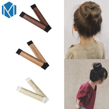MISM 1 pc French Style Twist Magic DIY Tool Children Hair Accessories Girls Bun Hair Maker Synthetic Wig 15 CM Kids Hair Band