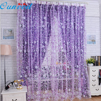 Ouneed TOP Grand Modern Floral Tulle for Window Curtain Sheer Curtains for Living Room the Bedroom Window Screening Panel
