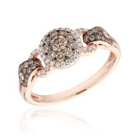 Natural Champagne Diamond and Diamond Fashion Ring 5/8ctw