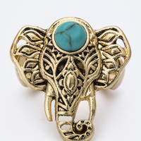 Turquoise Elephant Stretch Ring