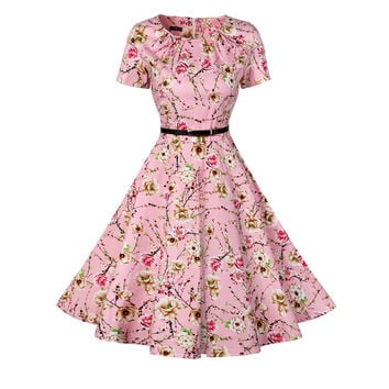 Vintage Tunic Dress Women O-Neck Short Sleeve Floral Print 1950s 40s Retro Audrey Hepburn Style Rockabilly Plus Size Swing Dress