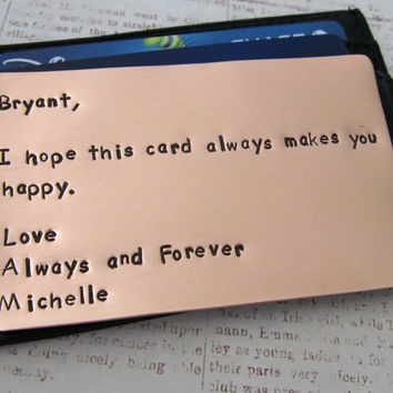 Copper Wallet Insert Card - Personalized Letters Numbers Hand Stamped - Husband Boyfriend 7 Seven Year Anniversary