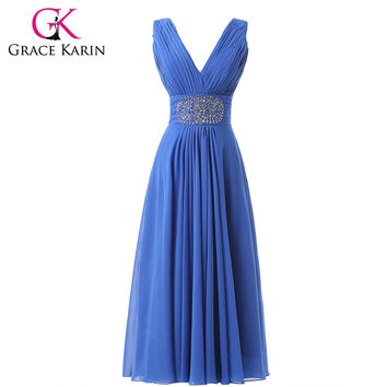 Grace Karin Double V Neck Ruched Sexy Beading Sequin Long Blue Prom Dresses Chiffon Party Gown Dance CL6269