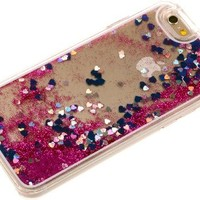 "Nine States Transparent Plastic 3D Glitter Quicksand Hearts Liquid Case for Apple iPhone 6 4.7"" (Plum) + a Nine States Logo Pouch"