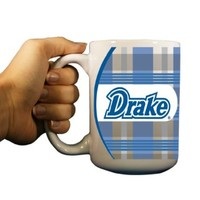 Drake University - 15oz Coffee Mug - Plaid Background