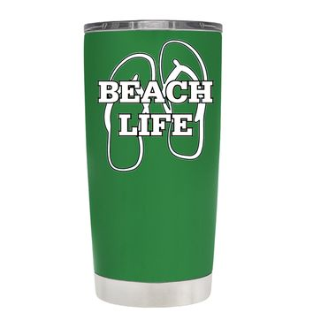 The Beach Life Sandals on Kelly Green 20 oz Tumbler Cup