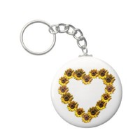 Sunflower Heart Keychains from Zazzle.com