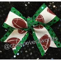 Football bow ribbon keychain (Customizable Color Backgrounds)