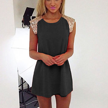 Women's Chiffon Sequin Cap Sleeves Crew Neck Mini Dress
