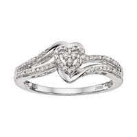 Always Yours Diamond Heart Engagement Ring in Sterling Silver (1/6 Carat T.W.) (White)