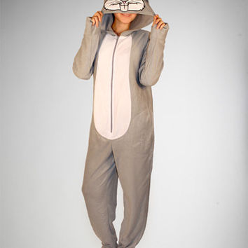 Bugs Bunny Hooded Footed Adult Pajamas