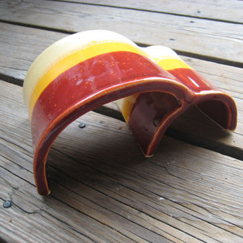 Ceramic Reptile Hide - Red Orange and Yellow - Toad Abode - Little Aquarium Arches - Dwarf Hamster Hideout - Outdoor Garden Decoration