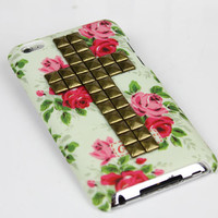 Apple Ipod Touch 4, iPod Touch 4th,iTouch 4,iPod Touch 4gen Rose Hard Case Cover With Bronze  Pyramid Studs