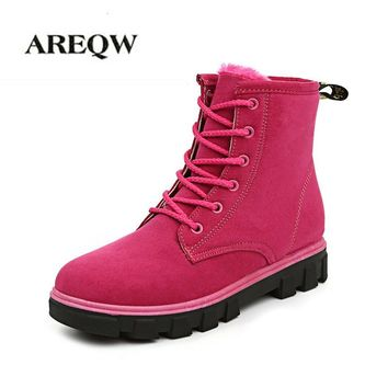 AREQW Women's Boots Suede Fur Comfortable Warm High Quality Australia Boots Fashion Women Snow Boots Winter Shoes Brand Classic