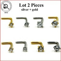Lot 2 Pieces Nose Stud Piercing Anodized Gold L Shape Nose Ring Prong Set 2mm,3mm Zircon Nose Jewelry 20g 18g