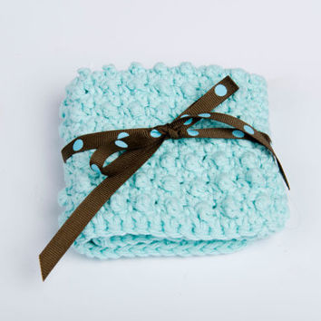 Washcloth, Crochet Scrubbie, Cotton Handmade- blue