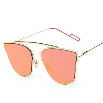 Lunette Papillon Cat Eye Color Lens Women Sunglasses Polarized