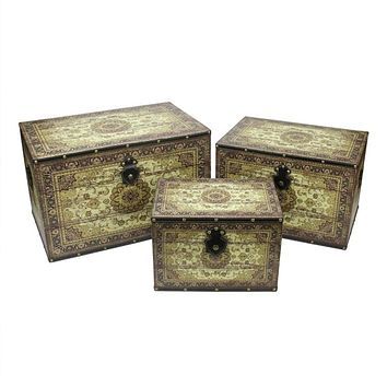 """Set of 3 Oriental-Style Brown and Cream Earth Tone Decorative Wooden Storage Boxes 22"""""""