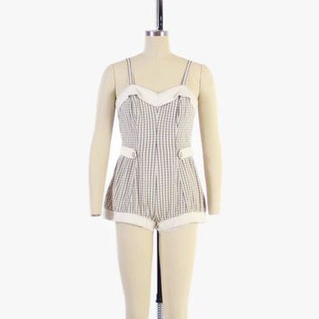 Vintage 50s Jantzen SWIMSUIT / 1950s Off White & Brown Windowpane Plaid PLAY SUIT M