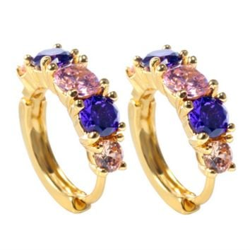 Pink, Purple and Amber Crystal Zircon Earring in silver or gold