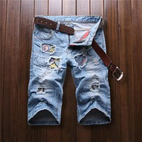 Jeans shorts summer 2016 men's fashion men's jeans shorts hole printing men's clothing new men's fashion jeans short