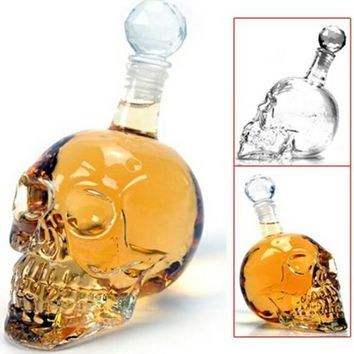 Skull Decanter Wine Beer Glass Bottle