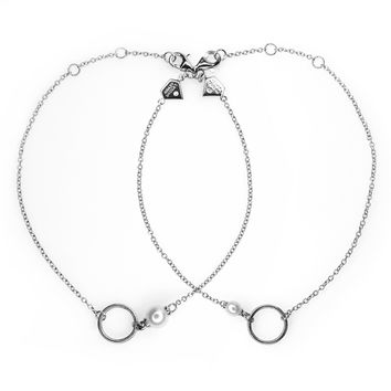 Mother Daughter Small and Large Pearl Charm Bracelet Set - (Includes 2 diamonds and 2 pearls)