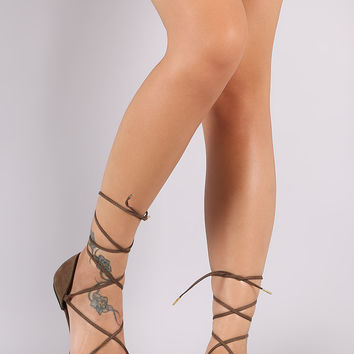 Qupid Lace Up Pointy Toe Dorsay Flat