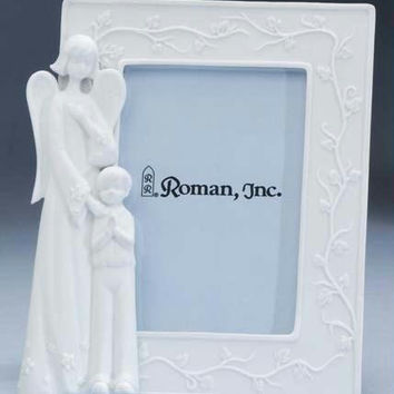 "Guardian Angel Picture Frame 3.5 ""  X 5 ""  - Angel And Boy In Prayer"